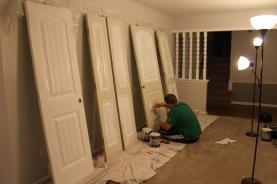 Jared's door paint station in the living room