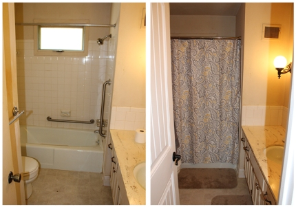 """near the stairs and linen closet is the """"ugly bath."""" small improvements!"""